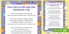 There Was an Old Lady Who Swallowed a Fly Song Sheet