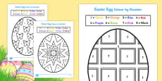 Easter Egg Colouring by Numbers Sheets