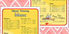 Chinese Takeaway Role Play Menu (Australia)