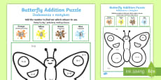 * NEW * Butterfly Addition Puzzle English/Polish