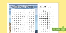Mountains of Ireland Differentiated Word Search
