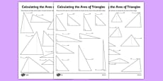 Differentiated Calculating the Area of Triangles Activity Sheet Pack