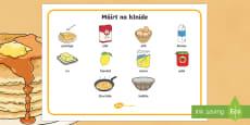 Pancake Tuesday Word Mat Gaeilge