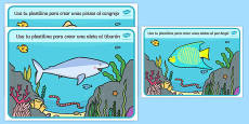 Under the Sea Playdough Mats Spanish