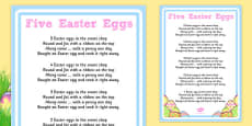 Five Easter Eggs Counting Song Sheet