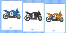 Numbers 0-50 on Motorbikes