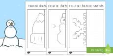Ficha: Líneas de simetría - Invierno