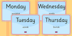 Days of the Week Display Signs EAL Slovak Version
