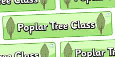 Poplar Tree Themed Classroom Display Banner