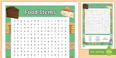 Food Items Word Search - German