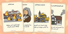 The Great Fire of London Events Timeline Cards Arabic Translation