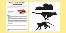 African Animal Sunset Art Adult Guidance
