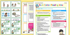 Reading Area Continuous Provision Plan Poster and Challenge Cards Pack Nursery FS1