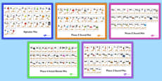 Alphabet and Phase 2-5 Sound Mats with British Sign Language Pack