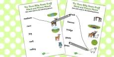 The Three Billy Goats Gruff Word and Picture Match