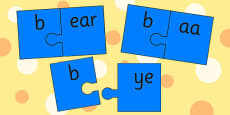 b sound and Vowel Production Jigsaw Cut Outs