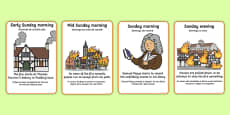 The Great Fire of London Events Timeline Cards Portuguese Translation