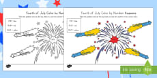 4th of July Color by Number Addition Activity Sheet