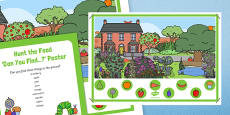 Hunt the Food Can You Find Poster to Support Teaching on The Very Hungry Caterpillar