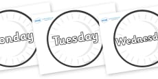 Days of the Week on Circles (Plain)