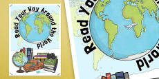 Read Your Way Around the World Display Poster