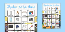 Póster de vocabulario de objetos de la clase