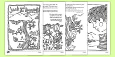 Jack and the Beanstalk Mindfulness Colouring Story Arabic Translation