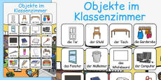 Classroom Objects Vocabulary Poster German