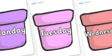 Days of the Week on Plant Pots