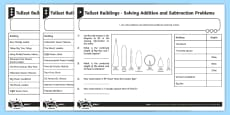 * NEW * Tallest Buildings Solving Addition and Subtraction Problems Differentiated Activity Sheets