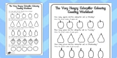 Australia - Colouring Counting Activity Sheet to Support Teaching on The Very Hungry Caterpillar
