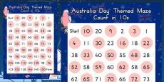 Australia Day Counting in 10s Maze Worksheet (Australian)