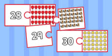 Number and Picture Matching Jigsaw to 30
