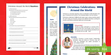 Christmas Celebrations Around the World Differentiated Comprehension Challenge Sheet