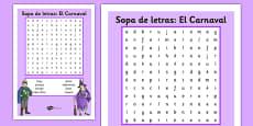 Sopa de letras: El Carnaval Spanish