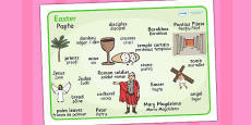 The Easter Story Word Mat Romanian Translation
