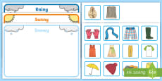 * NEW * Workstation Pack: Weather Clothes Sorting Activity Pack