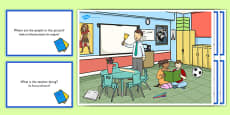 School Scene and Question Cards Romanian Translation