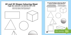 2D and 3D Shapes Colouring Sheets English/Italian