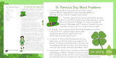 * NEW * St. Patrick's Day Math Word Problems Grades 3-5 Activity Sheet