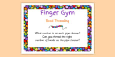 EYFS Bead Threading Finger Gym Children's Prompt Card
