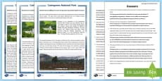 Cairngorms National Park Differentiated Reading Comprehension Activity