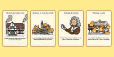 The Great Fire of London Events Timeline Cards Portuguese