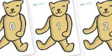 Numbers 0-100 on Old Teddy Bears