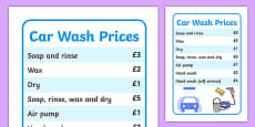 Car Wash Role Play Price List