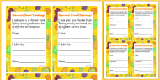 Harvest Food Tasting Cards