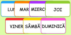 Days of the Week Flashcards Romanian