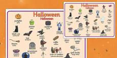 Halloween Word Mat Polish Translation
