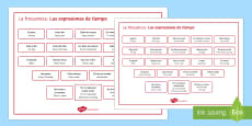 Time Expressions Word Mat Spanish