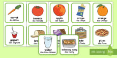 Healthy and Unhealthy Food Sorting Cards English/German